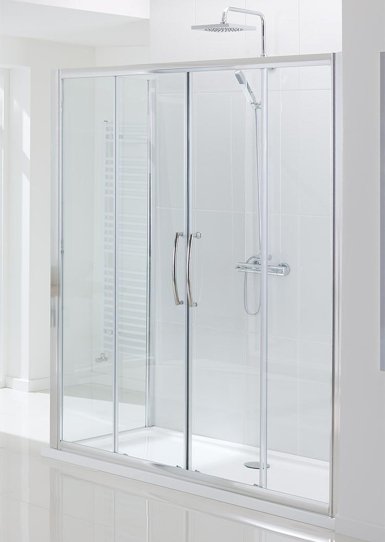 Lakes classic semi frameless double slider door 1700 x 1850mm for 1700 shower door