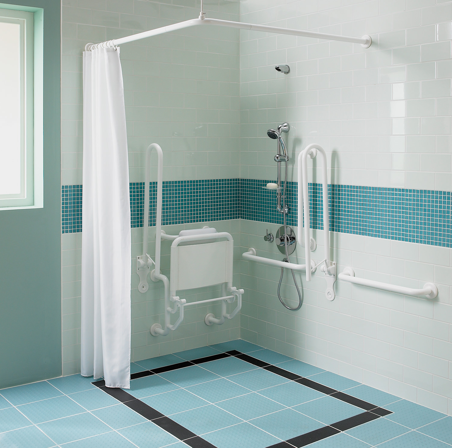 Twyford Doc M Shower Pack With Blue Grab Rails And Seat
