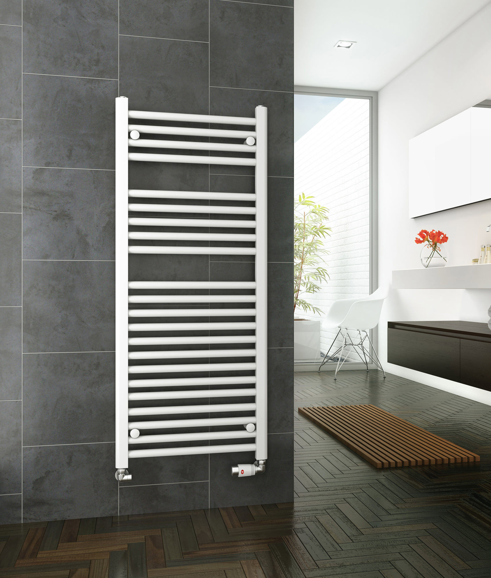Dq heating metro straight heated towel rail white 600 x 1200mm for Do metro trains have bathrooms