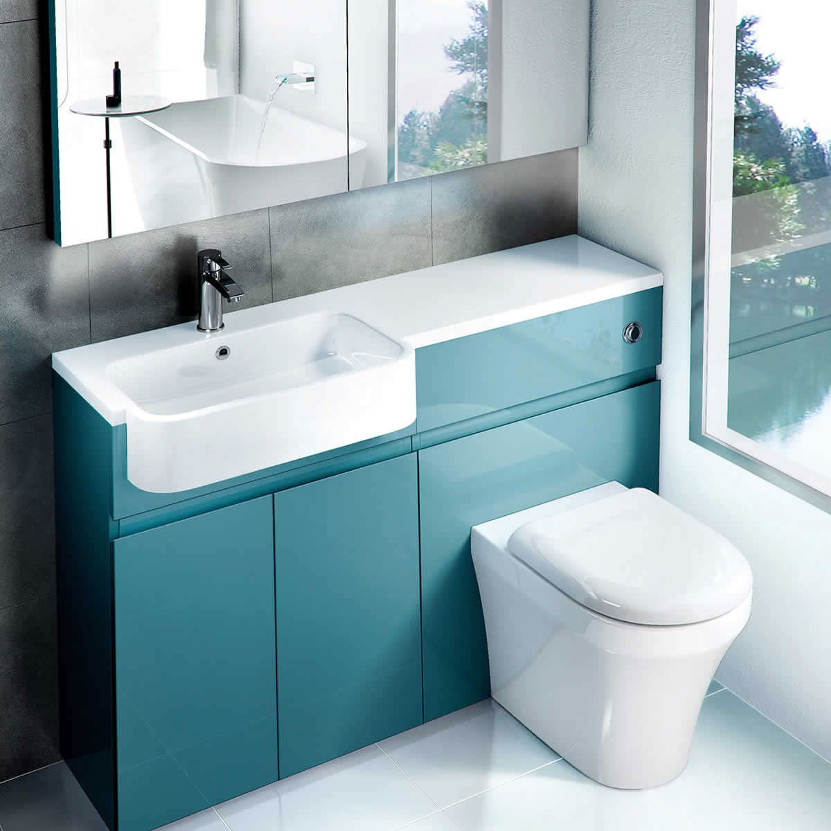 Aqua Cabinets D300 1 Th Lh 1200mm Quattrocast Furniture Basin