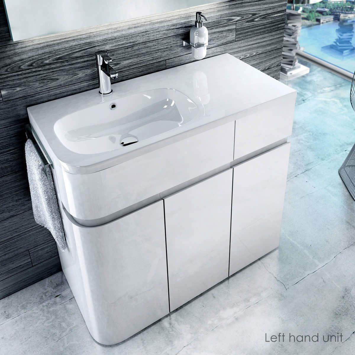 Britton Aqua Cabinets D450 Arc White 900mm Lh Cabinet With