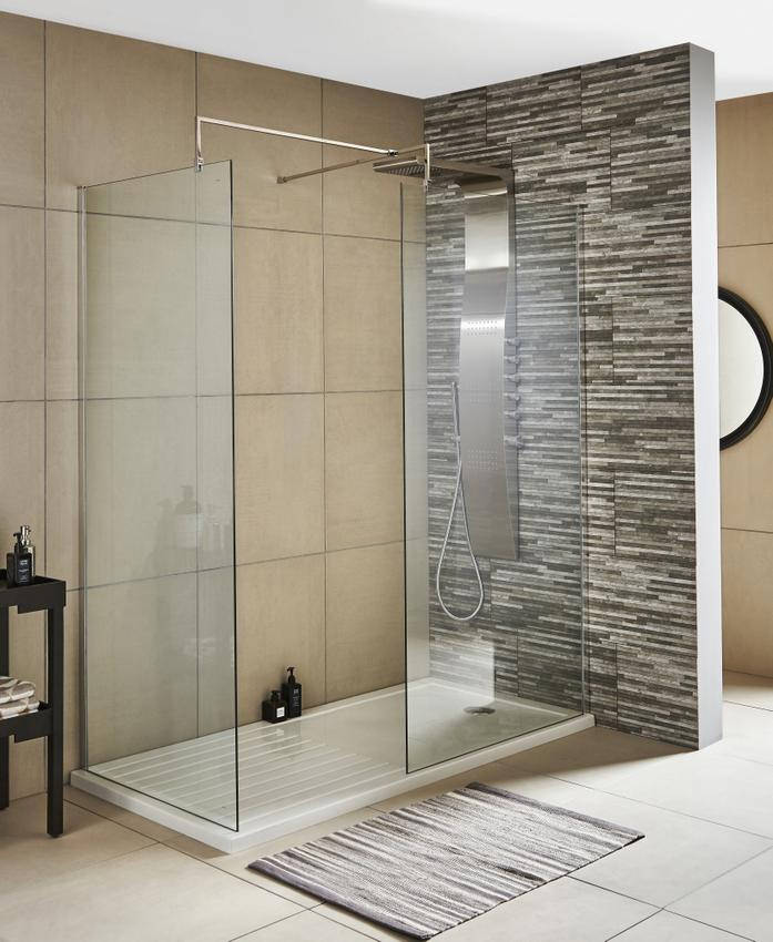 Lauren Wetroom Walk-In 800 x 1850mm Shower Panel With Support Bar