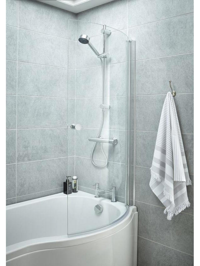 Lauren 720 x 1435mm Curved Screen With Knob For P-Bath