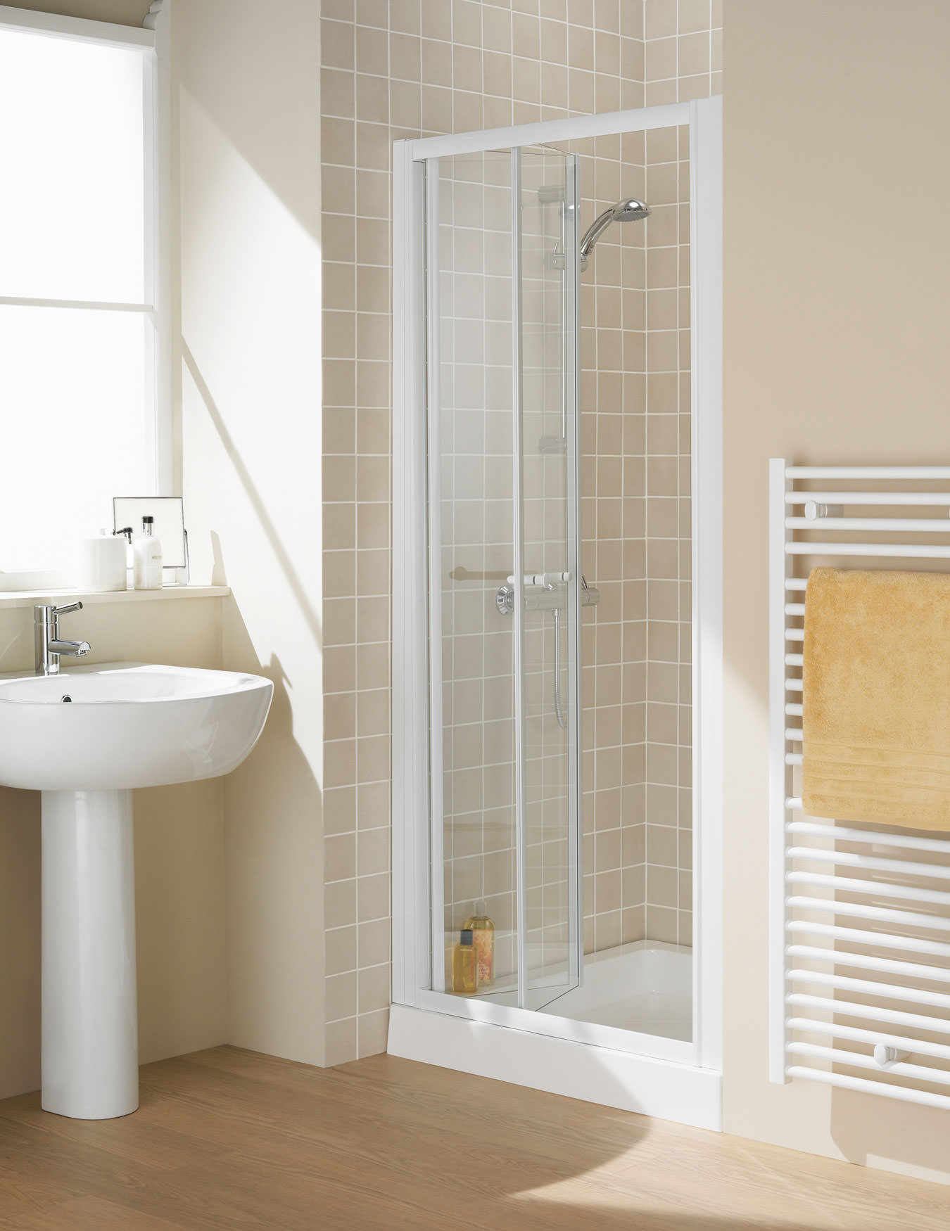 Lakes Classic Semi Frameless Bi Fold Door 750 X 1850mm White