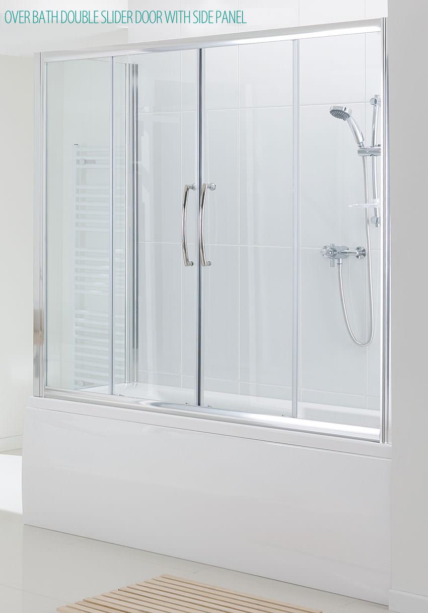 Lakes Classic Over Bath Semi Frameless Double Slider Door 1700mm
