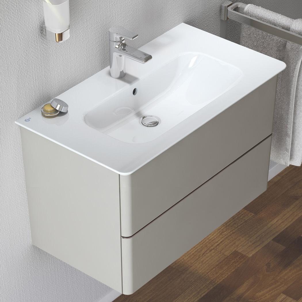 Ideal standard softmood 80cm wall hung basin unit gloss grey for Salle de bain lavabo