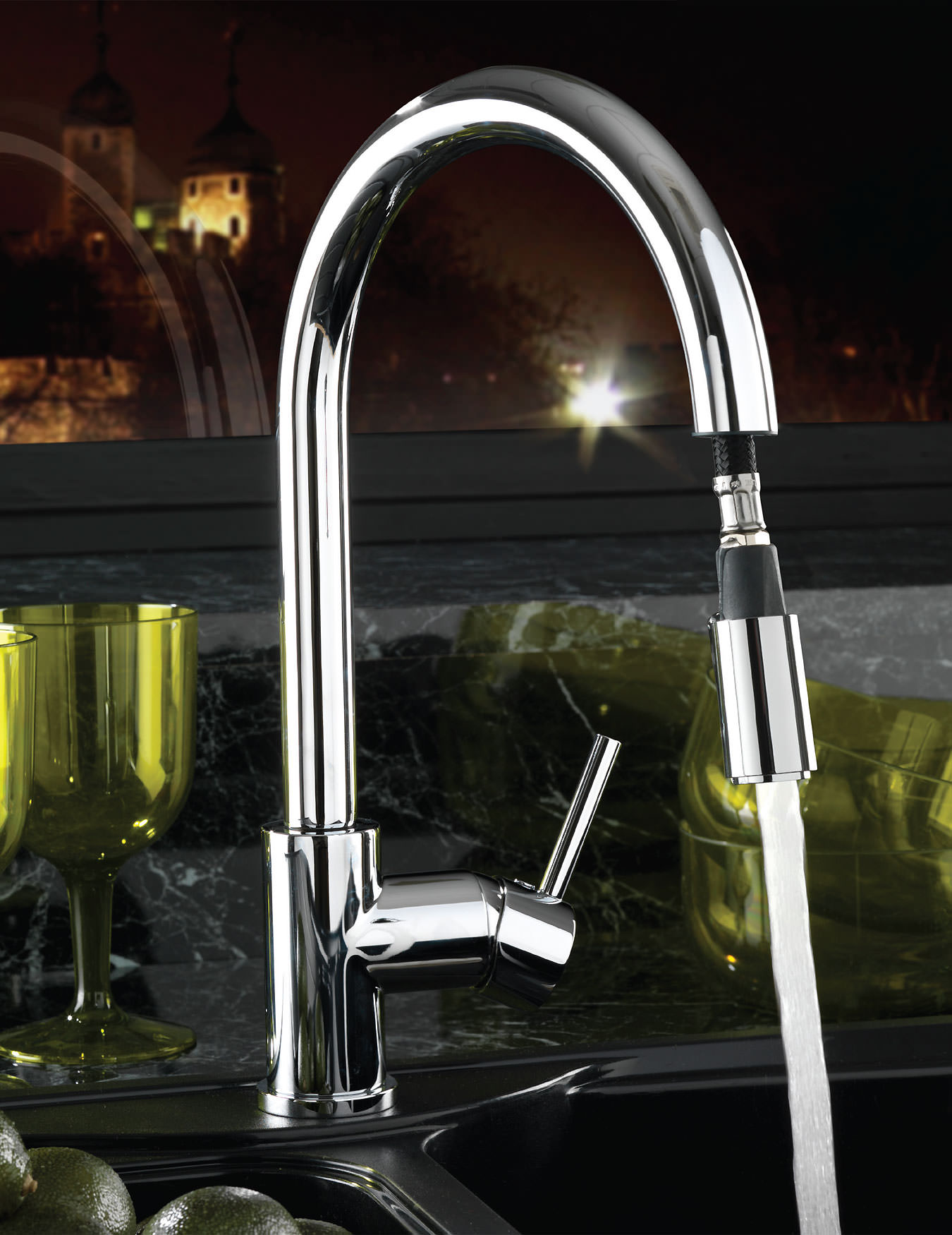 Pull out spray kitchen taps uk - Tre Mercati Solar Pluto Lite Mono Sink Mixer Tap With Pull Out Spray