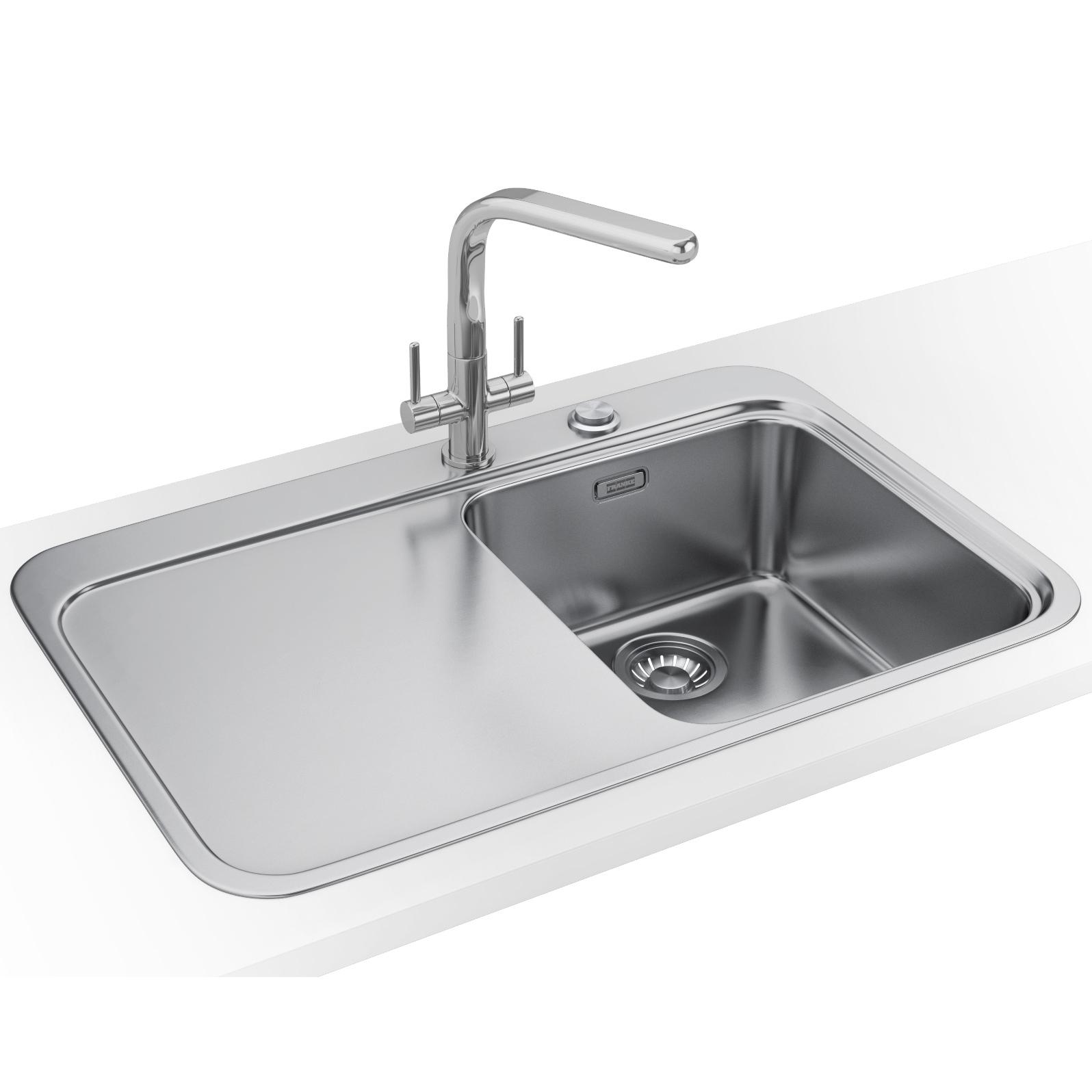 franke sinos snx 211 stainless steel left hand drainer 10 bowl inset sink