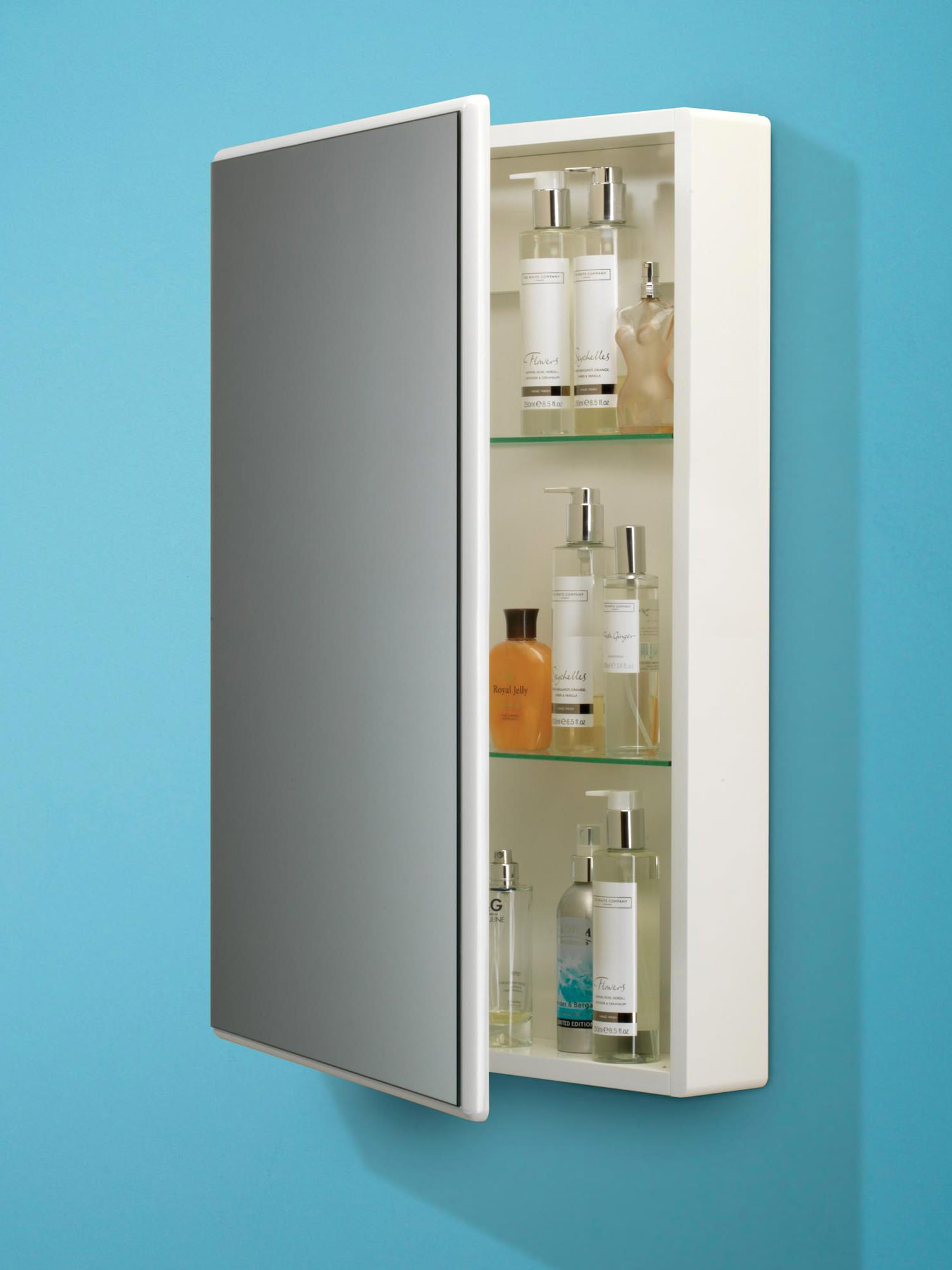 Hib Tulsa Slimline White Single Door Mirrored Cabinet X