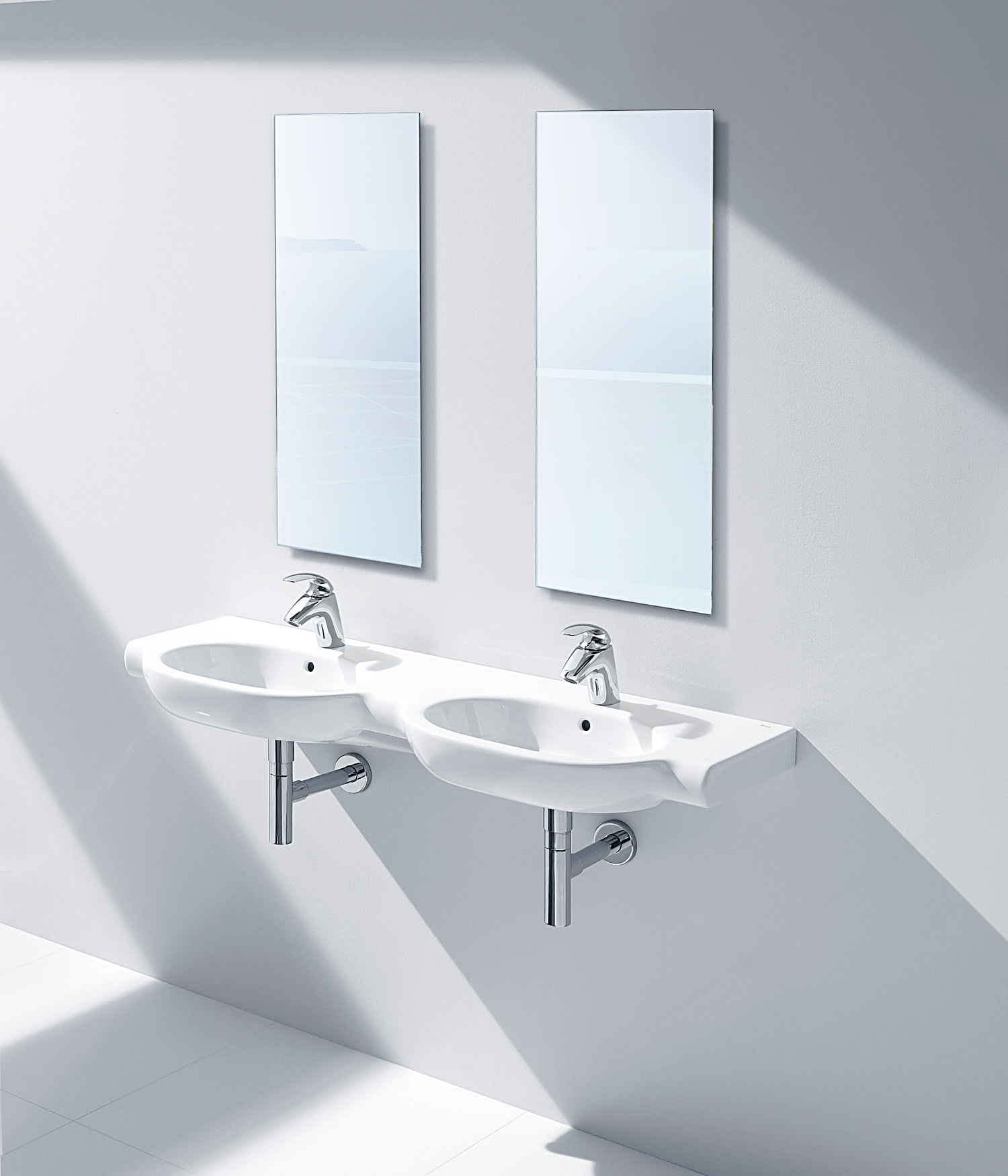 Roca Bathroom Accessories Roca Meridian N 1250 X 460mm Wall Hung Double Basin