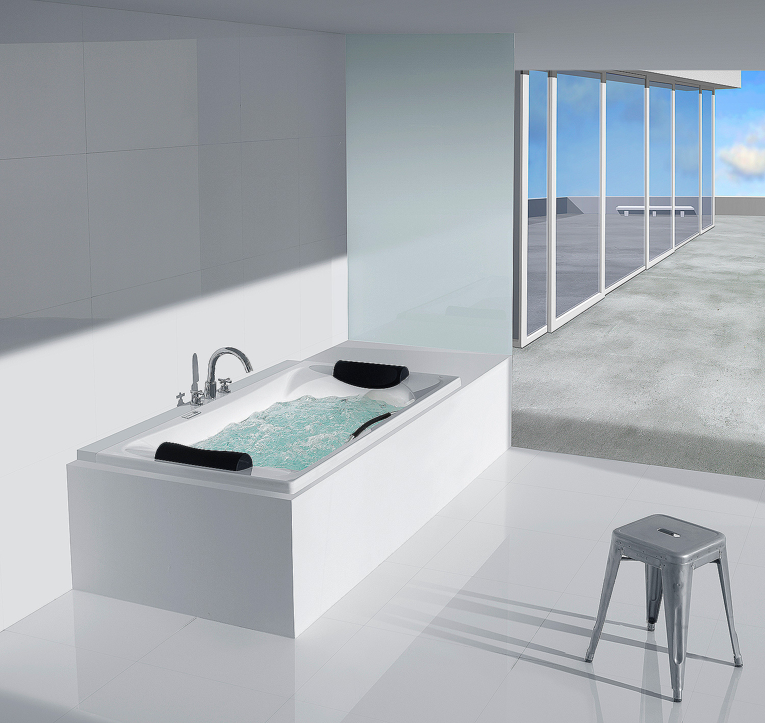 Roca Becool 1800mm Acrylic Bath With Grip And Headrests