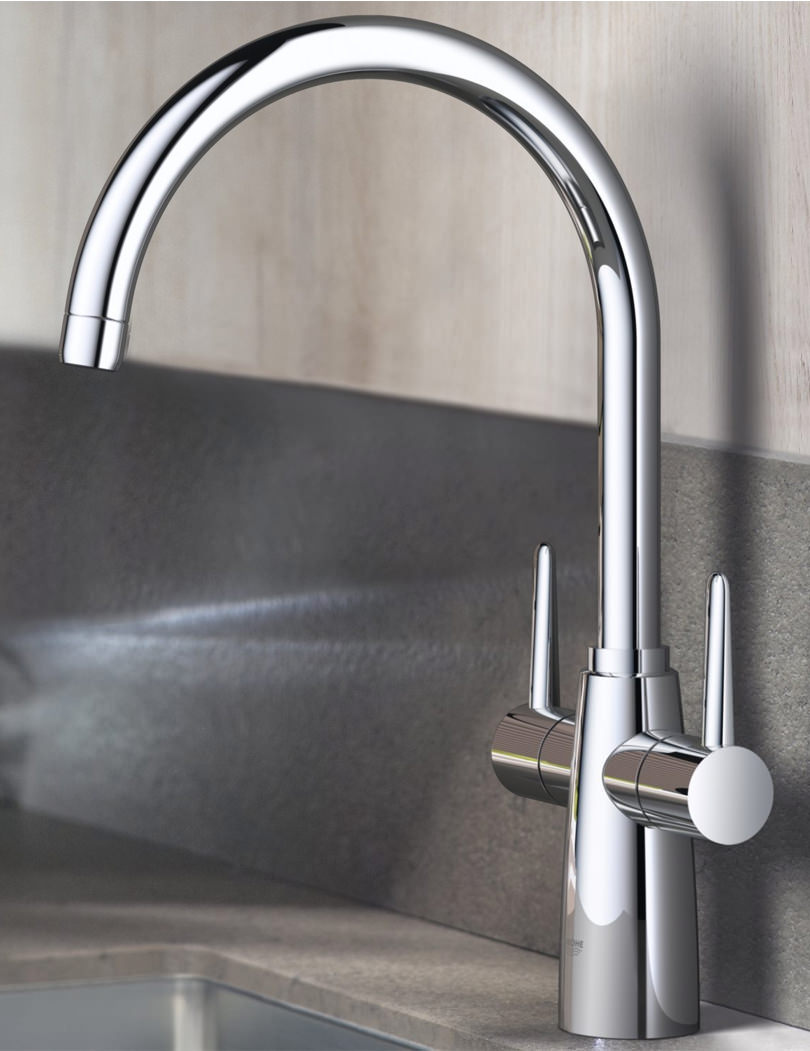 Grohe Ambi Cosmopolitan Dual Lever Sink Mixer Tap With Swivel Spout