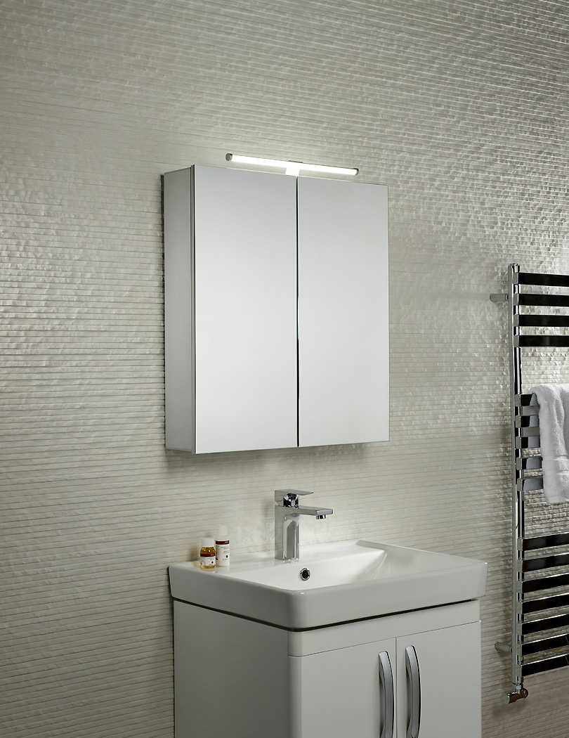 Tavistock Conduct Double Door Mirror Cabinet-Integrated LED Light