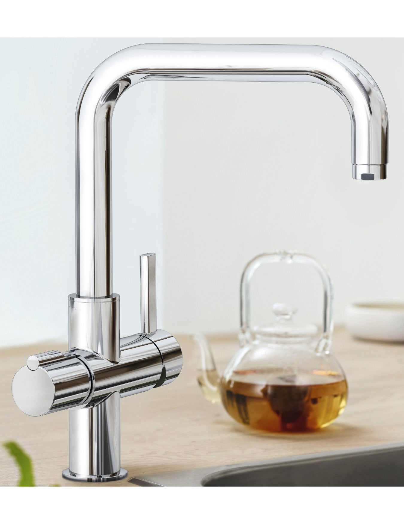 grohe red duo chrome u spout faucet and single boiler 4 litres. Black Bedroom Furniture Sets. Home Design Ideas