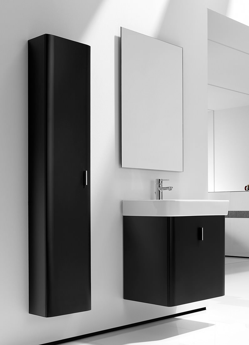 Roca Bathroom Accessories Roca Senso Square Matt Black Base Unit With Drawer For 65cm Basin