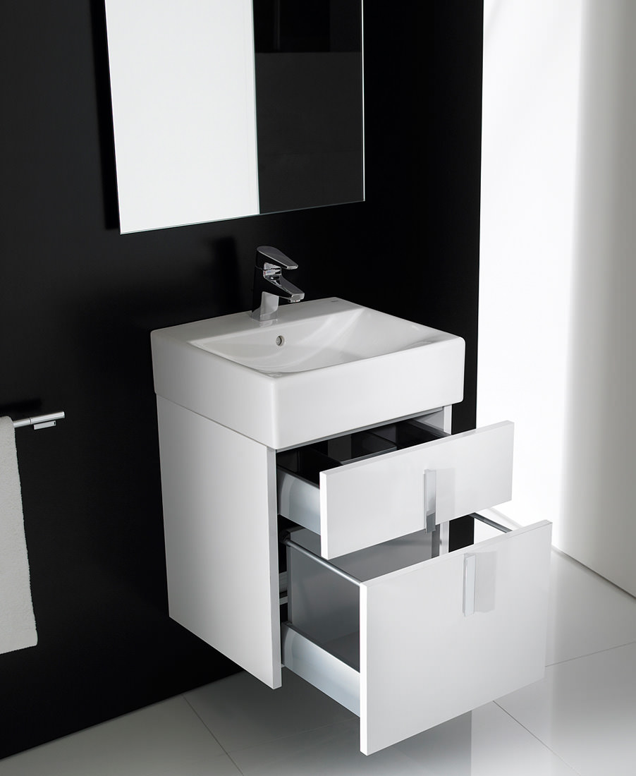 Roca Bathroom Accessories Roca Diverta Gloss White Base Unit And 470mm Basin