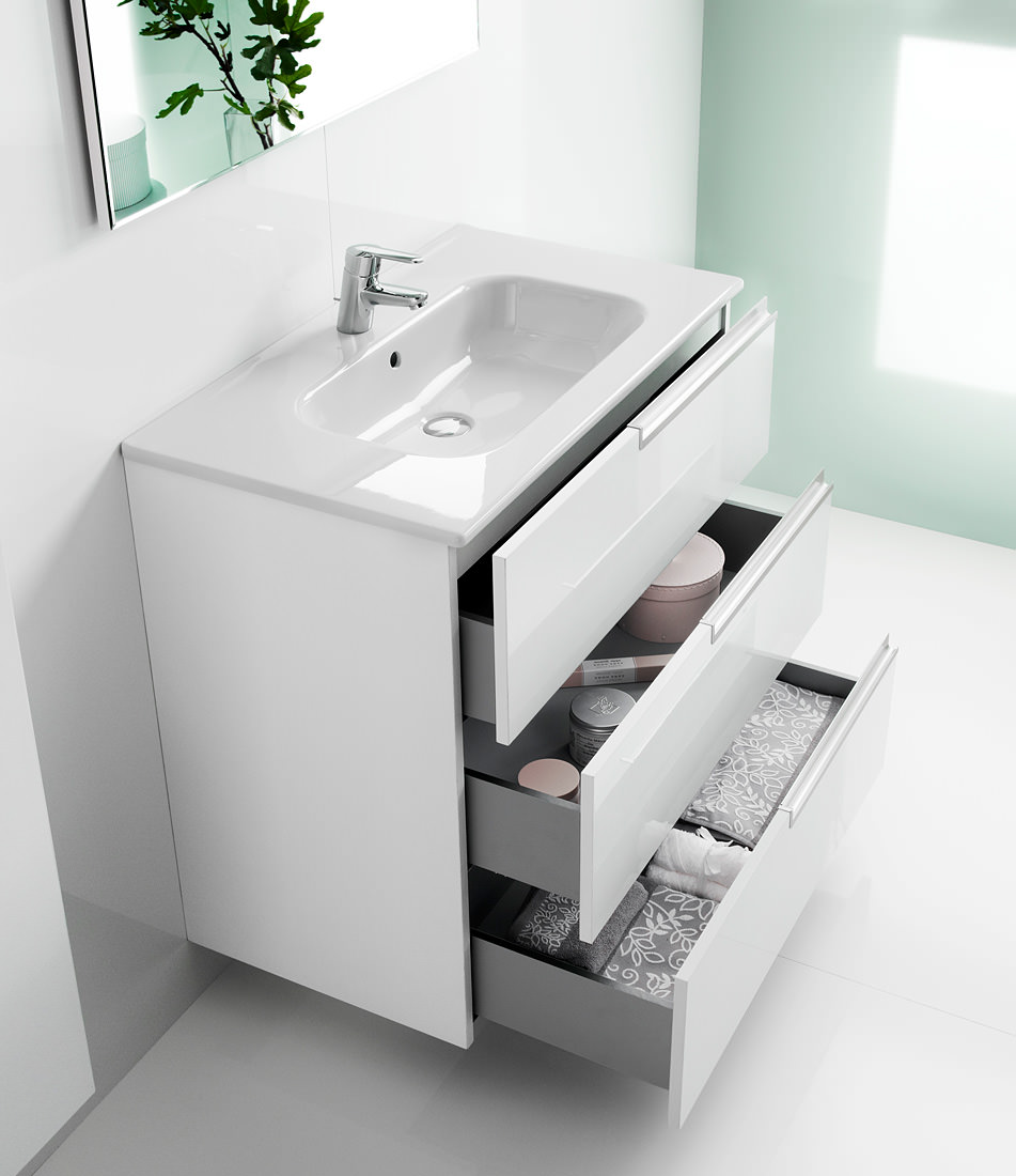Roca victoria n unik basin and unit with 3 drawers 800mm for Kitchen cabinets 800mm