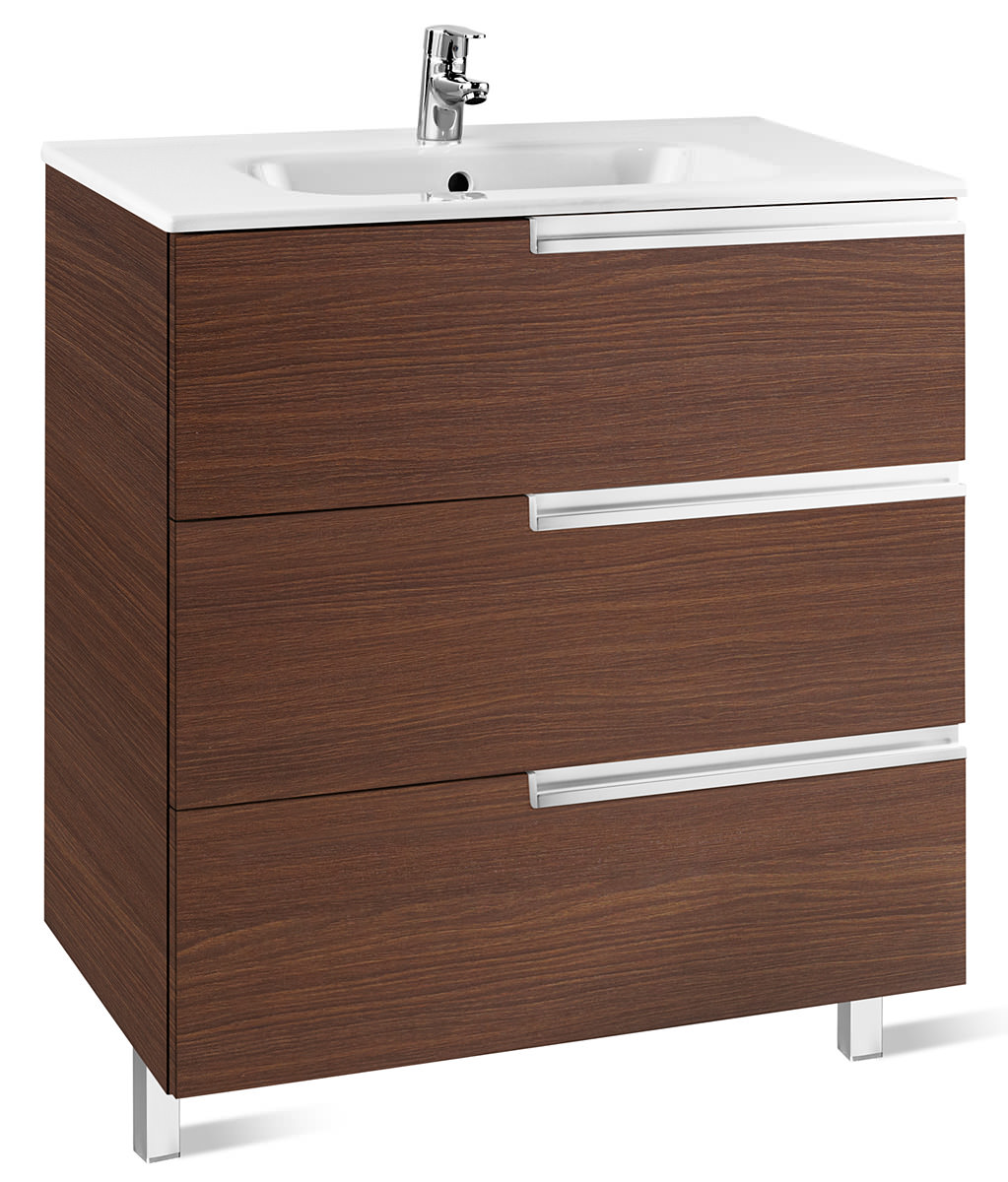 Roca victoria n unik basin and unit with 3 drawers 700mm for Kitchen cabinets 700mm