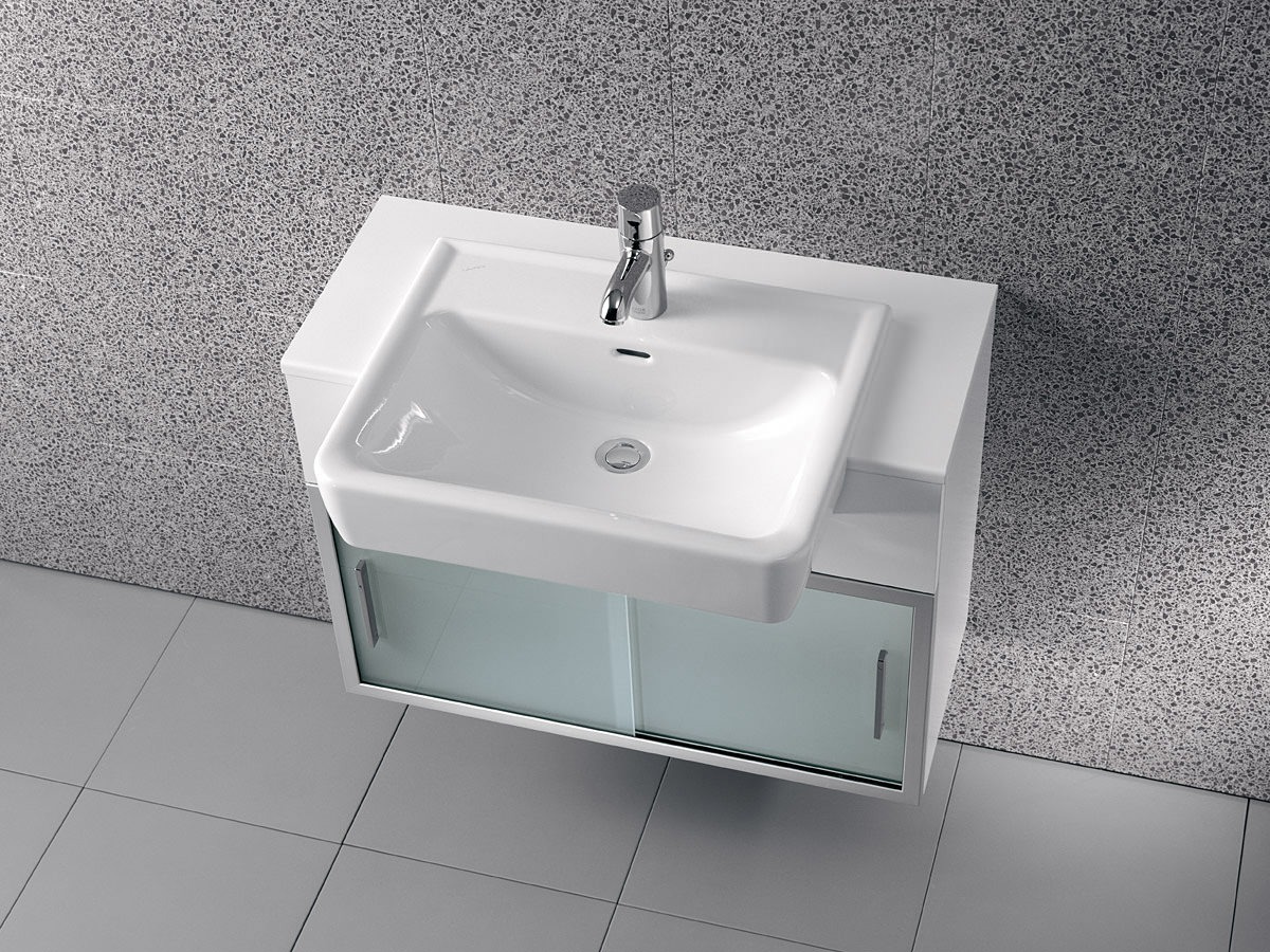 laufen pro a 560 x 440mm semi recessed basin with 1 tap hole. Black Bedroom Furniture Sets. Home Design Ideas