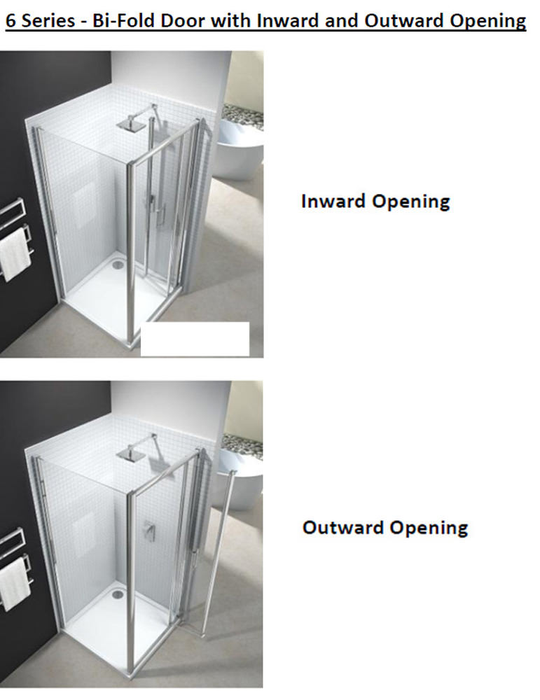 Merlyn 6 series 4mm clear glass bi fold shower door 1000mm for 1000 bi fold shower door