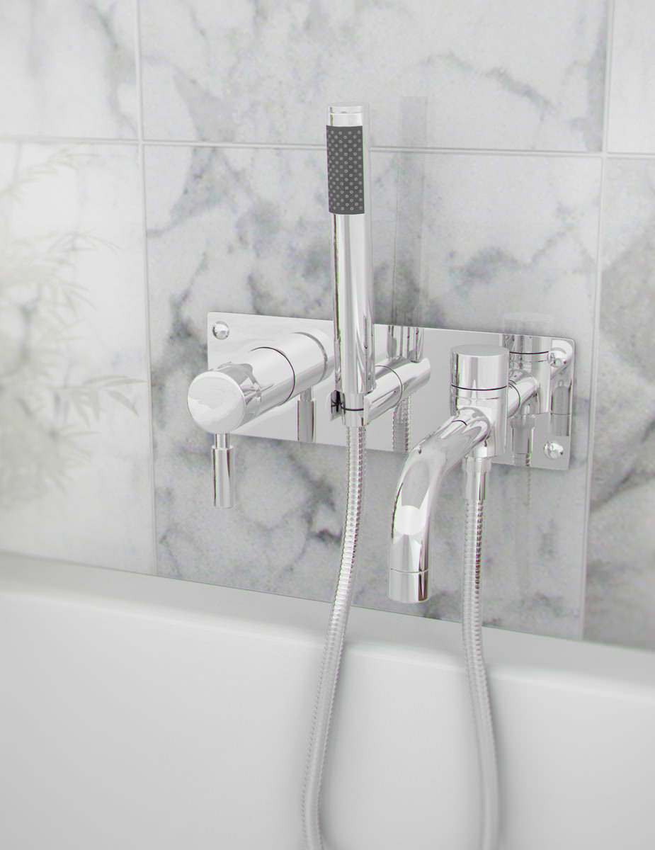 Beo Twirl Wall Mounted Bath Shower Mixer Tap With Kit