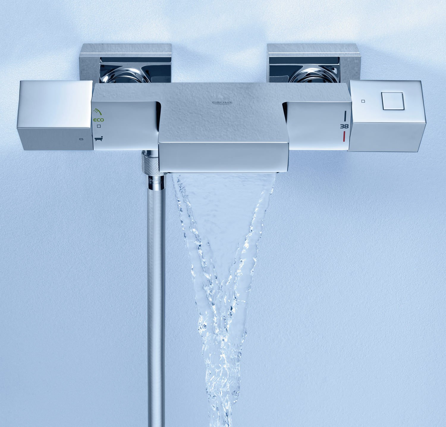 Grohe Grohtherm Cube Thermostatic Wall Mount Bath-Shower Mixer Tap