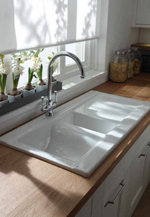 ceramic kitchen sink with drainer abode tydal 1 5 bowl reversible white ceramic inset 8090