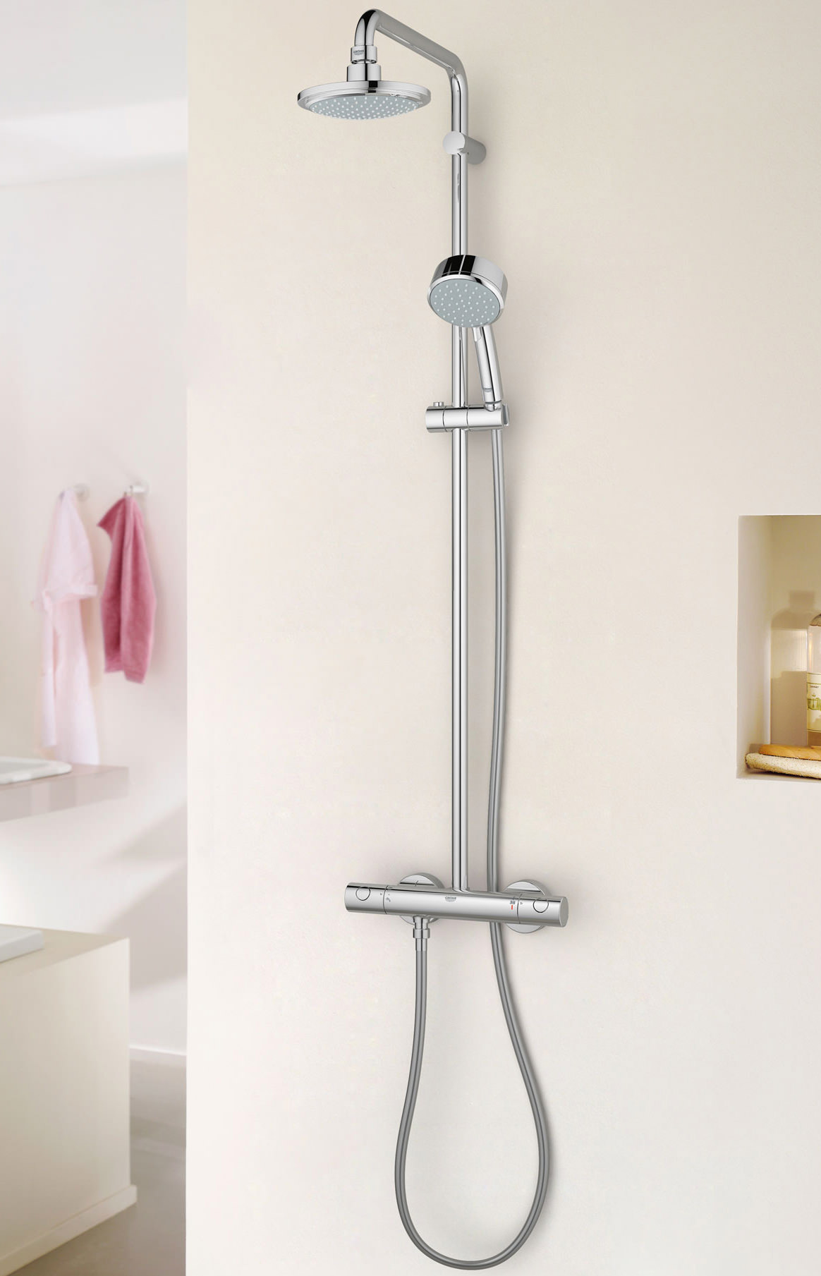 grohe new tempesta cosmopolitan shower system with thermostat. Black Bedroom Furniture Sets. Home Design Ideas
