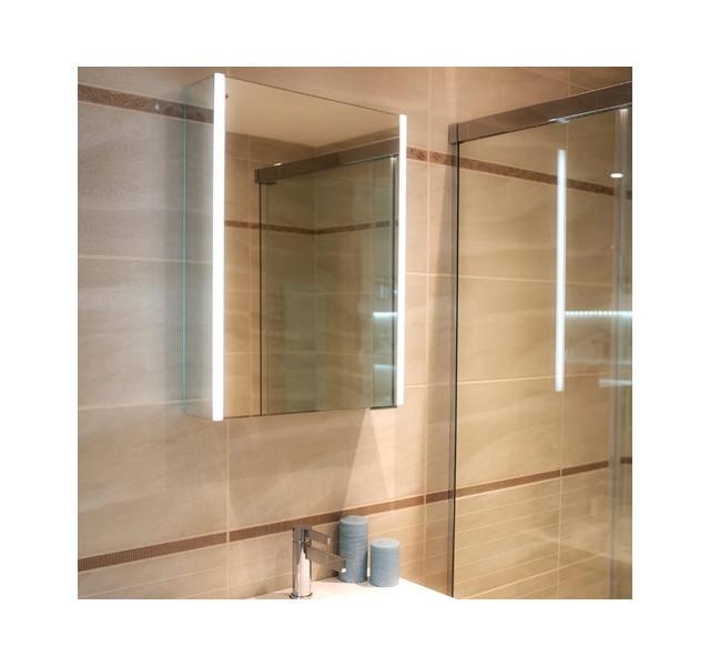 Hib xenon 50 single door aluminium cabinet with led for Bathroom cabinets 70cm wide