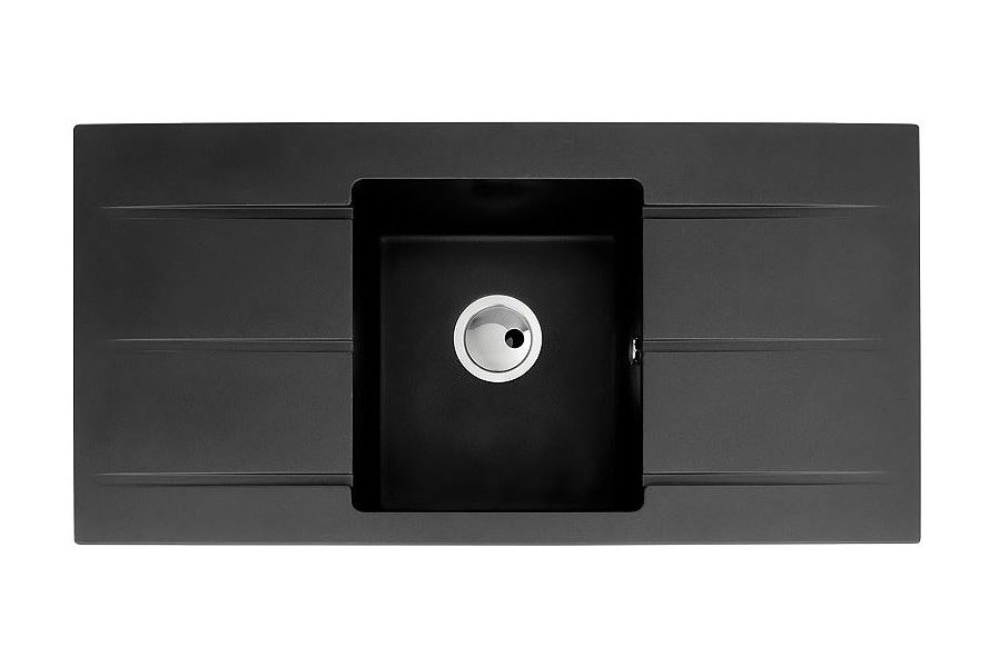 abode zero 10 bowl with double drainer black metallic granite kitchen sink. beautiful ideas. Home Design Ideas