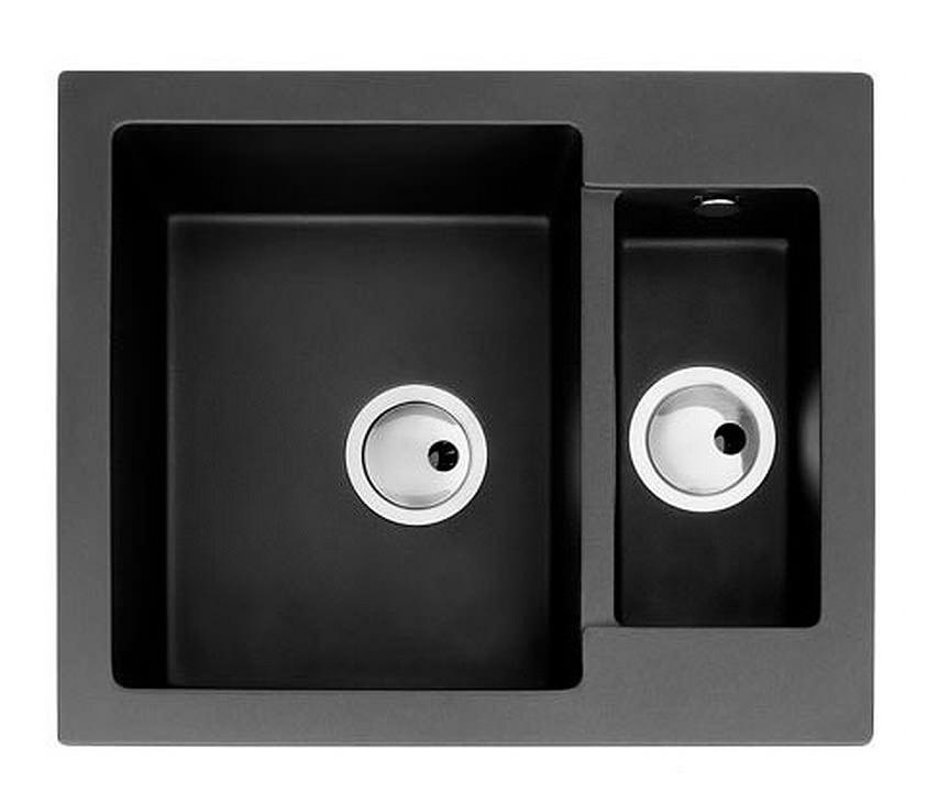 Abode Zero 1.5 Bowl Black Granite Reversible Inset Kitchen Sink
