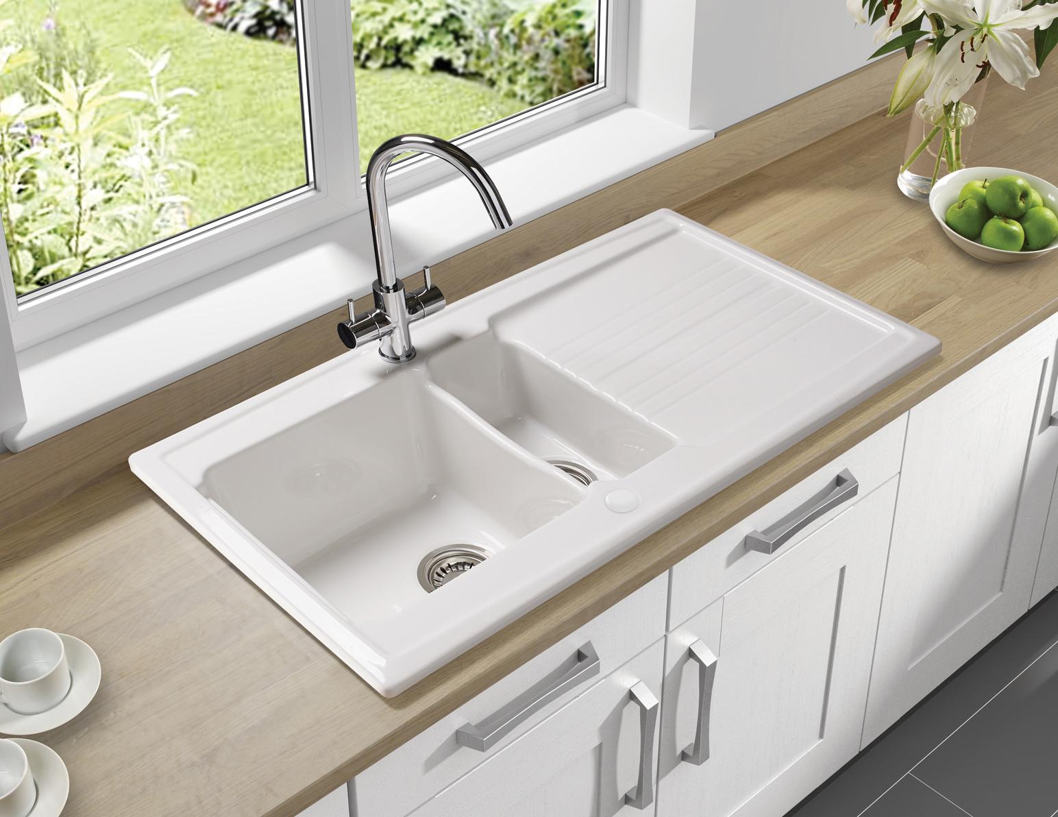 Astracast Equinox White Ceramic Inset Sink - 1.5 Bowl