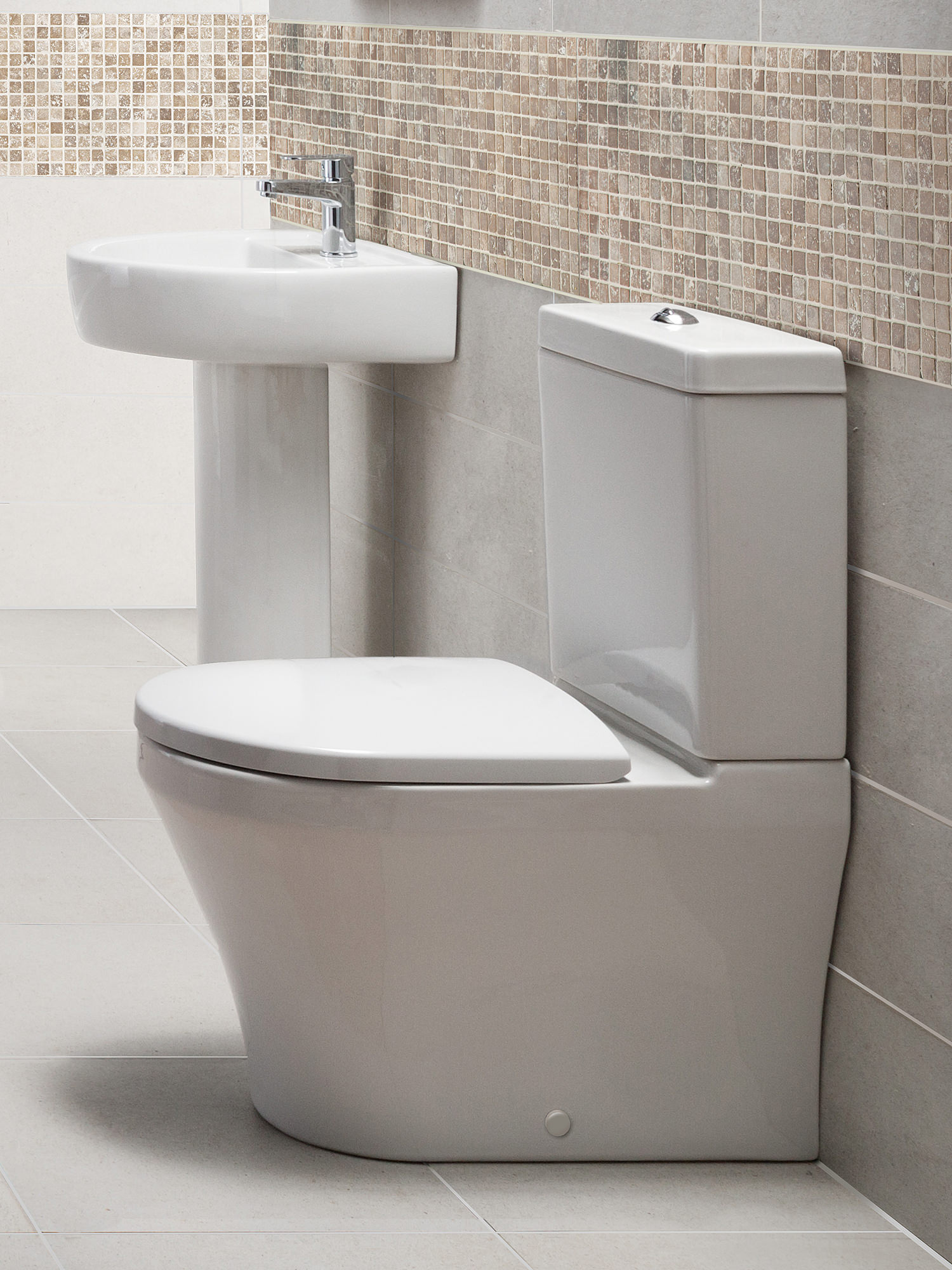 Beo mellow flush to wall close coupled wc with cistern and for Flush with the wall