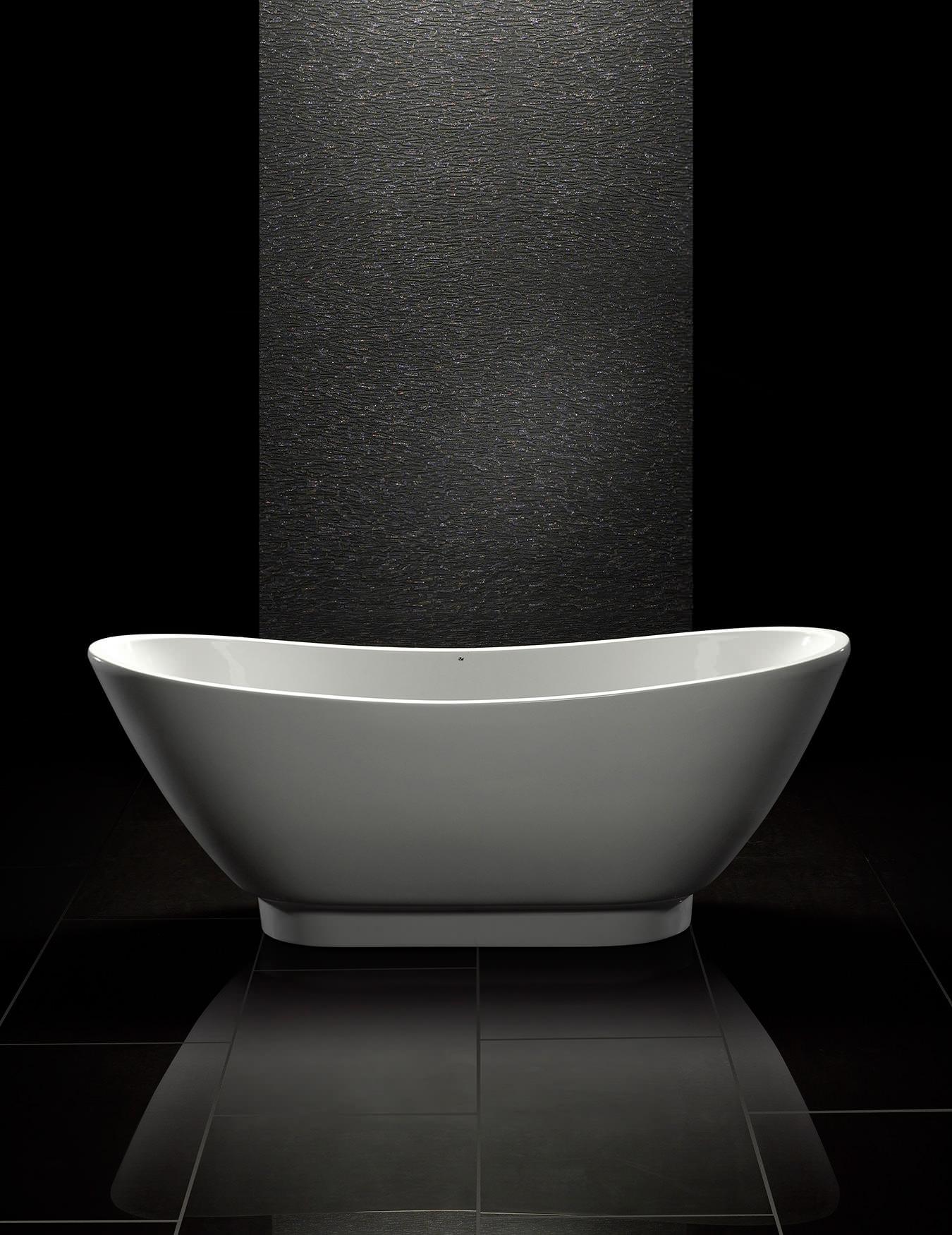 Royce morgan black quartz freestanding bath 1760 x 680mm for Quartz bathroom accessories