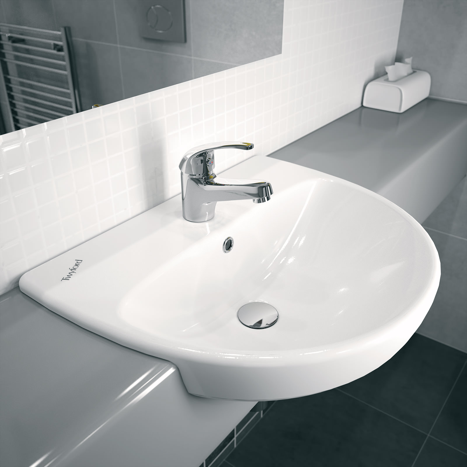 Very Twyford E100 Round 1 Centre Tap Hole 550x440mm Semi-Recessed Basin CW81