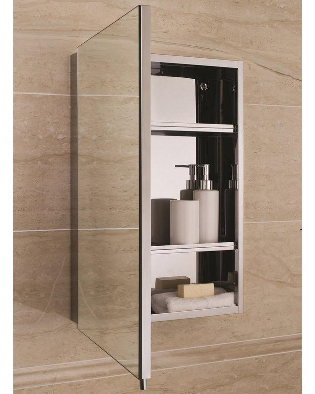 Rak Cube Stainless Steel Mirrored Bathroom Cabinet 1 Door W 400 X H 600mm 12sl802