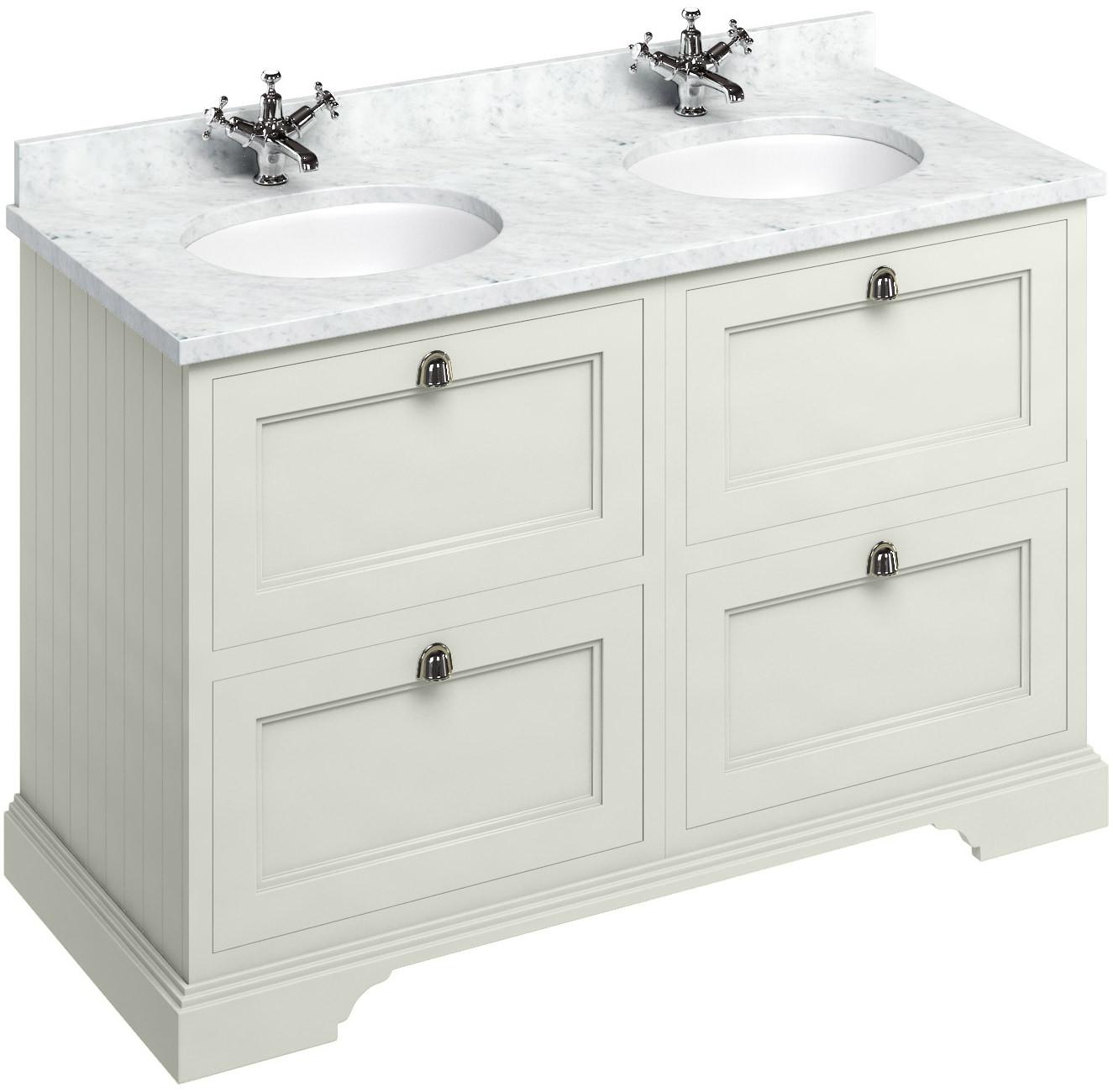 burlington sand 1300mm 4 drawer unit and worktop with basin