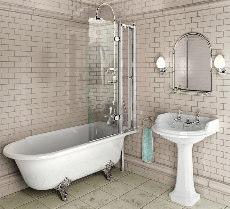 Burlington Hampton Right Hand Freestanding Shower Bath 1700x750mm