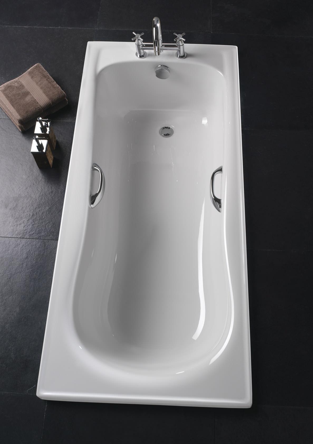 Twyford Galerie Single Ended Acrylic Bath With Grips 1500 x 700mm