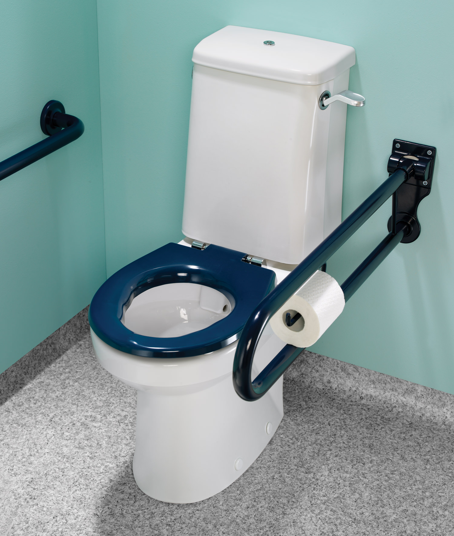 Twyford Doc.M Rimless Super CC WC Pack With Blue Grab Rails And Seat