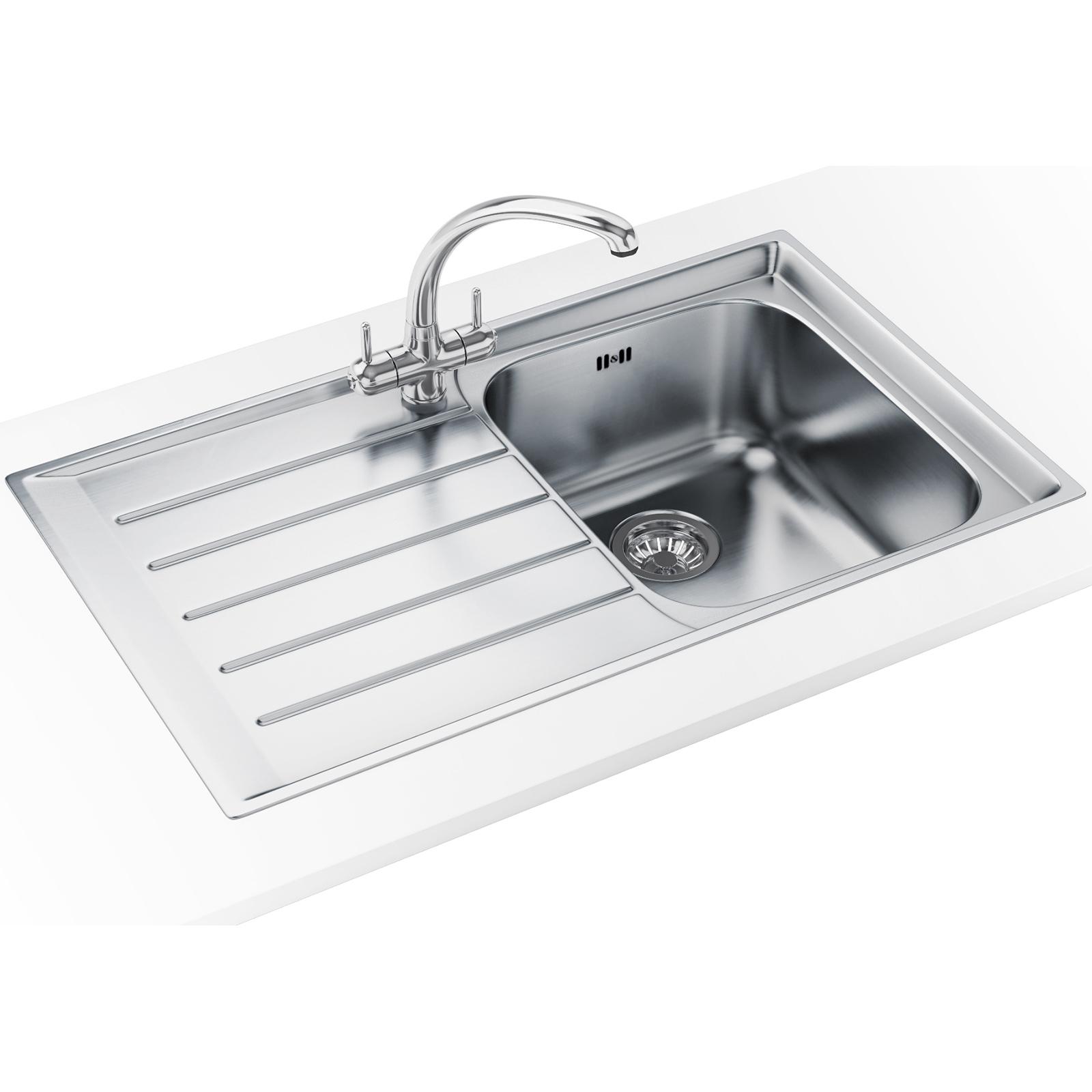 franke neptune nex 211 stainless steel left hand drainer inset sink - Franke Sink