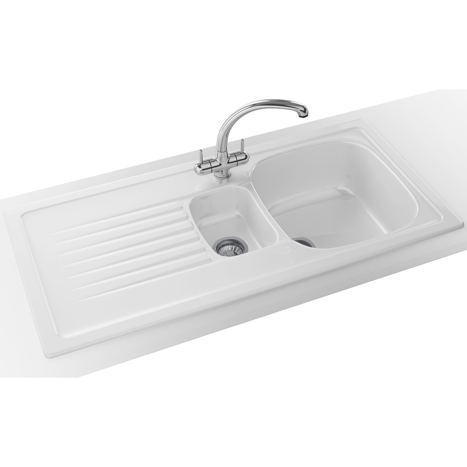 Franke Elba ELK 651 Ceramic 1.5 Bowl White Kitchen Inset Sink