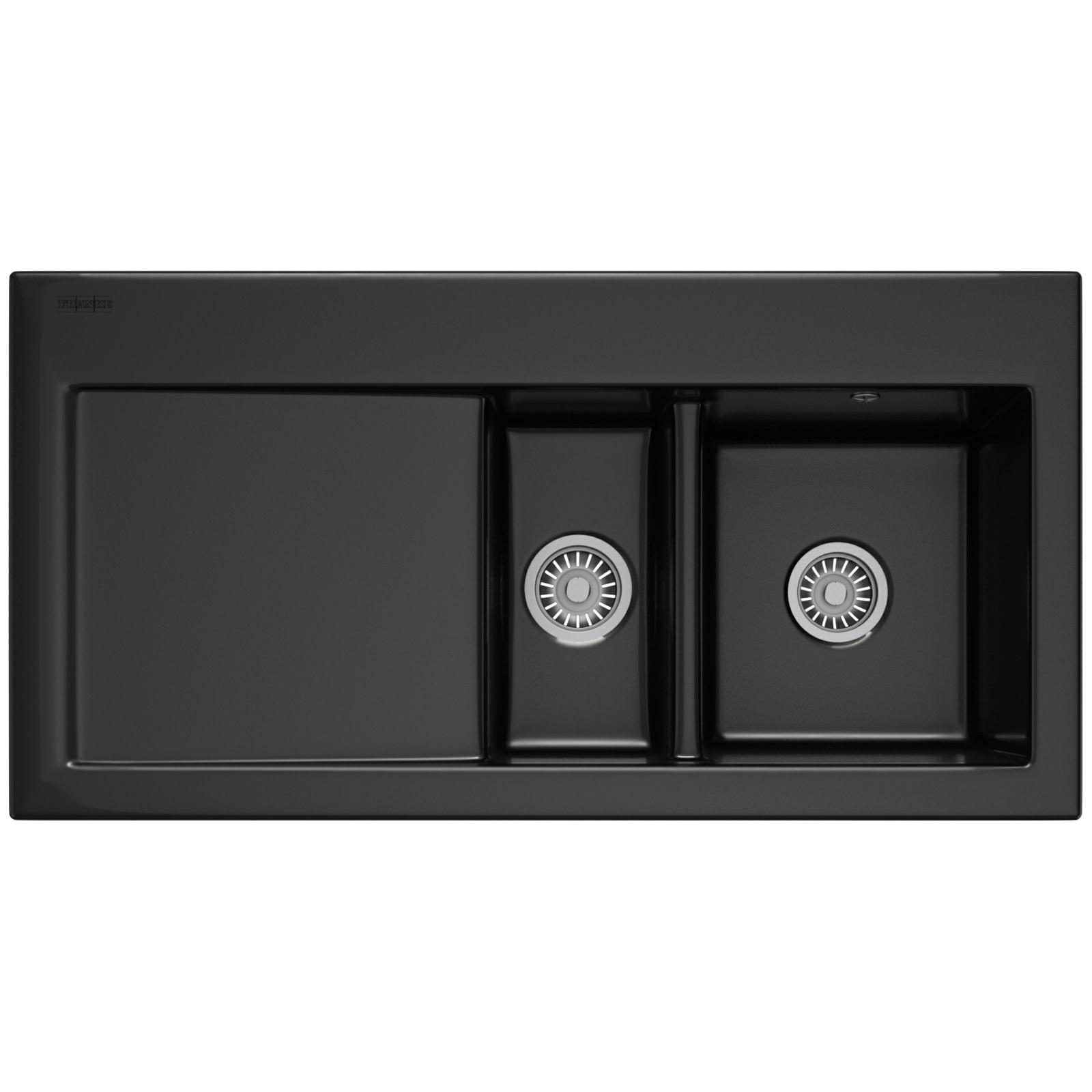 Franke Mythos MTK 651 DP - Ceramic Black Left Drainer Sink And Tap
