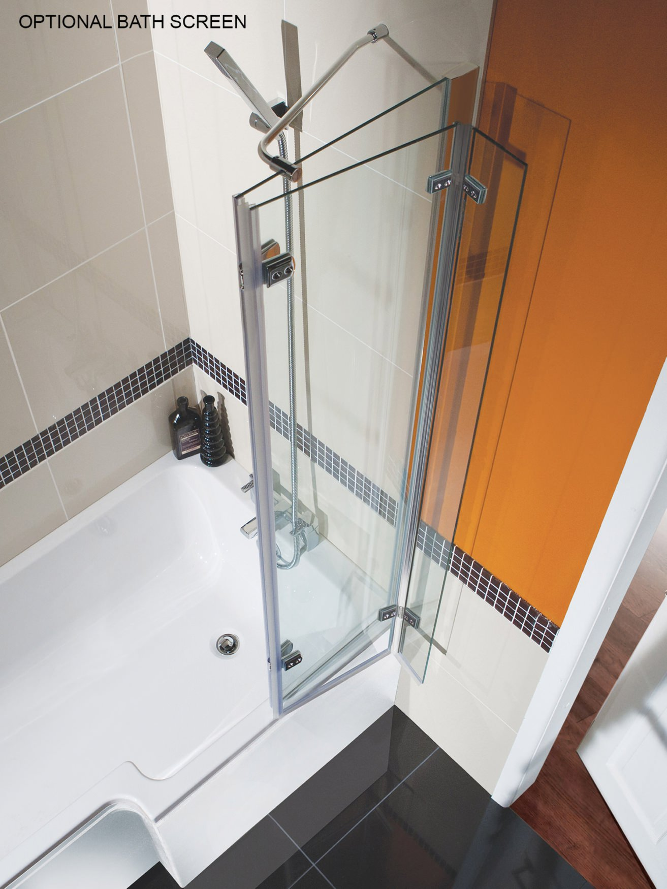 Beo Square 1700 x 850mm Right Hand Shower Bath