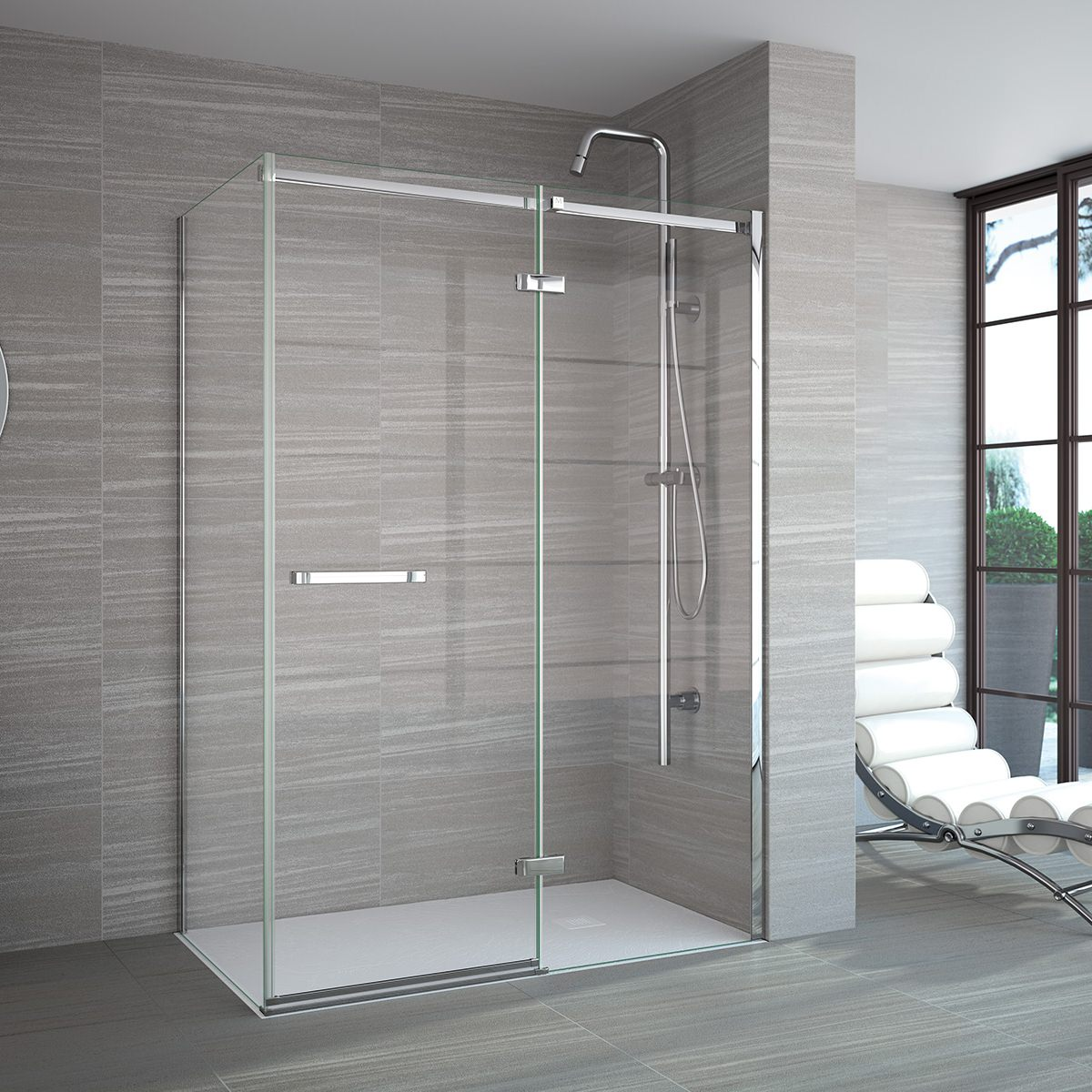 Merlyn 8 Series Frameless Hinge And Inline Shower Door