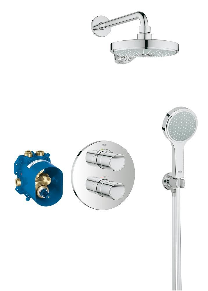 grohe grohtherm 2000 new chrome concealed thermostatic shower set. Black Bedroom Furniture Sets. Home Design Ideas