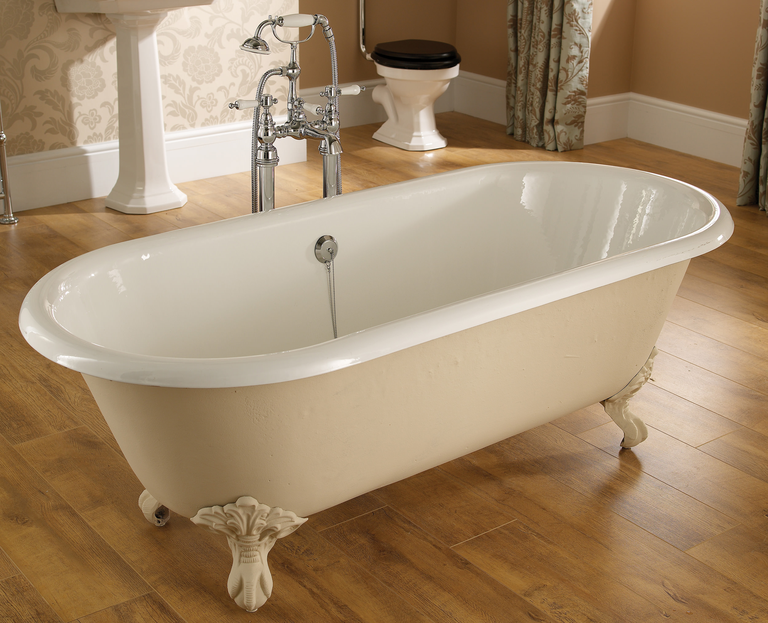 Sink bowl bathroom - Heritage Oban Double Ended Roll Top Bath With Feet 1760 X