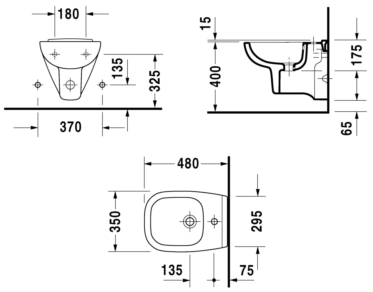 duravit d code 480mm wall mounted bidet compact 22371500002. Black Bedroom Furniture Sets. Home Design Ideas