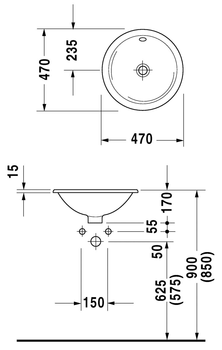 duravit architec 470mm countertop basin with overflow