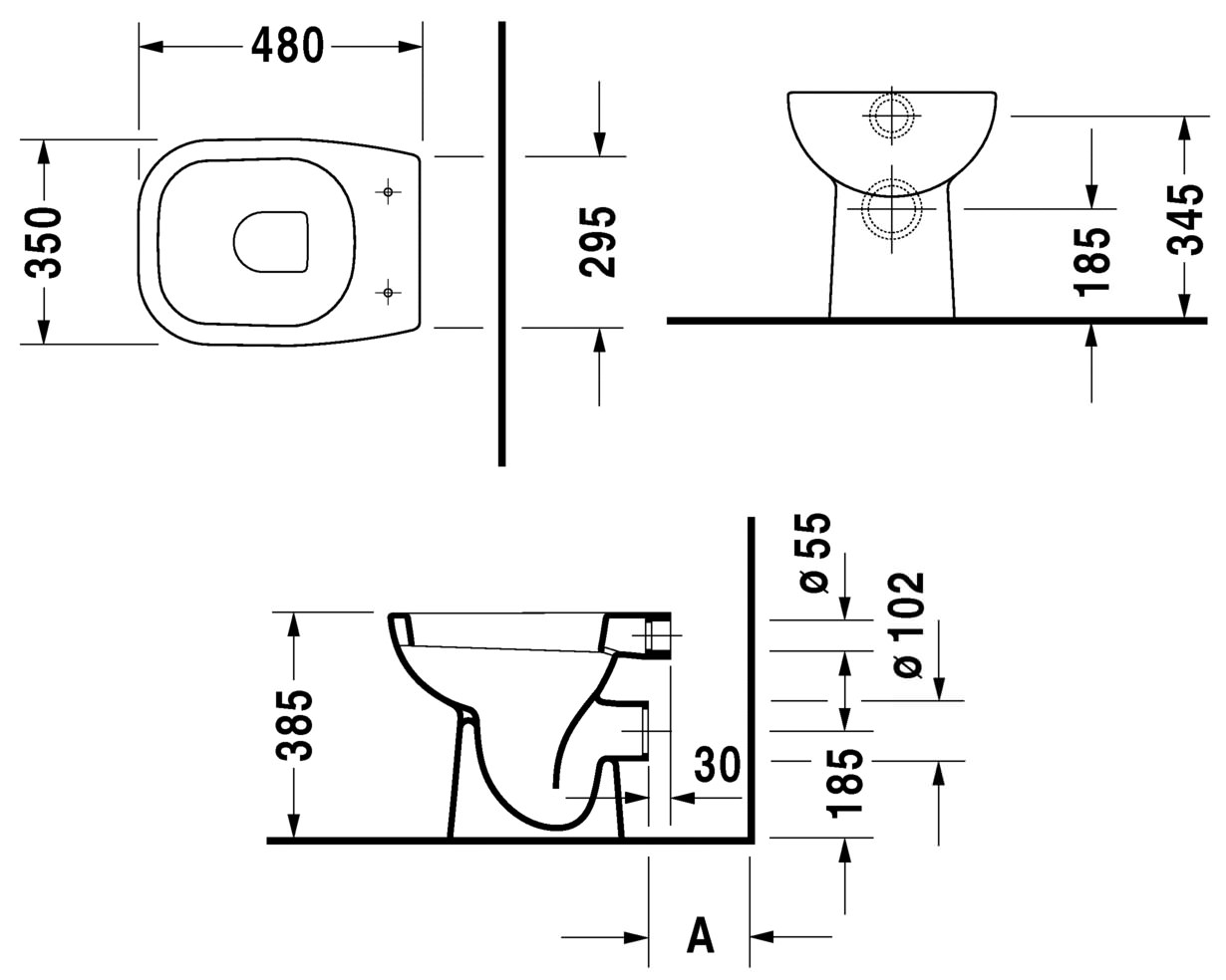 duravit d code 480mm floor standing toilet. Black Bedroom Furniture Sets. Home Design Ideas